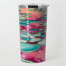 Ginger Cat amongst the Lily Pads on a Pink Lake Travel Mug