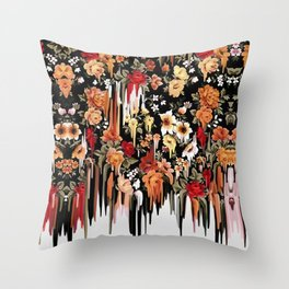 Free Falling, melting floral pattern Throw Pillow