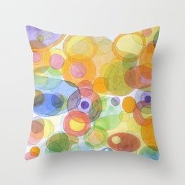 Vividly interacting Circles Ovals and Free Shapes Throw Pillow
