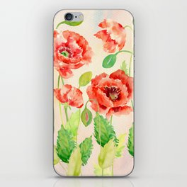 Watercolor Red Oriental Poppies iPhone Skin