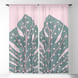 Polka Dots Monstera Sheer Curtain