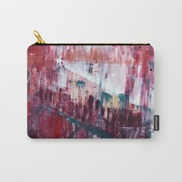 Sunset in the Valley: a colorful abstract piece in reds, pink, gold, gray, and white Carry-All Pouch