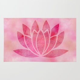 Zen Watercolor Lotus Flower Yoga Symbol Rug