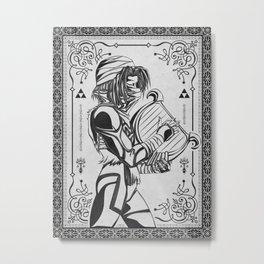 Legend of Zelda Shiek Princess Zelda Geek Line Art Metal Print