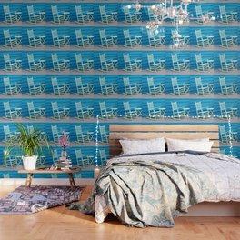 Coastal Beach House Art - Blue Rocking Chair - Sharon Cummings Wallpaper
