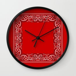 Paisley - Bandana - Red Wall Clock