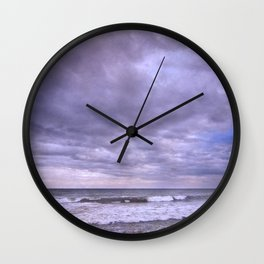 Purple sunset at the beach Wall Clock