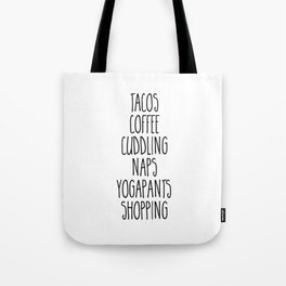 Tacos & Coffee Funny Quote Tote Bag