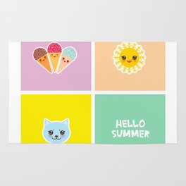 Hello Summer bright tropical card design, ice cream, sun, cat. Kawaii cute face. Rug