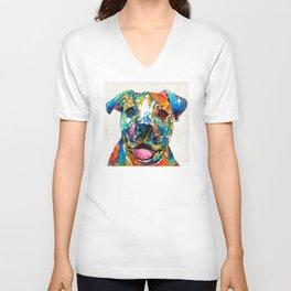 Colorful Dog Pit Bull Art - Happy - By Sharon Cummings Unisex V-Neck