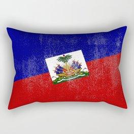 Haitian Distressed Halftone Denim Flag Rectangular Pillow