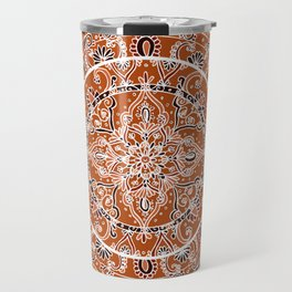 Detailed Burnt Orange Mandala Travel Mug