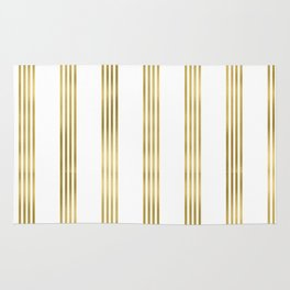 Simply luxury Gold small stripes on clear white - vertical pattern Rug