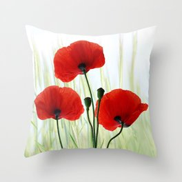 Poppies red 008 Throw Pillow