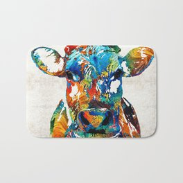 Colorful Cow Art - Mootown - By Sharon Cummings Bath Mat