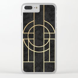 Art Deco Black Marble Clear iPhone Case