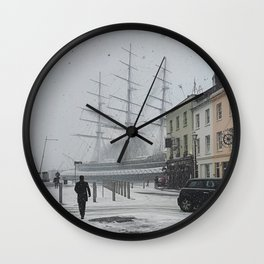 The Clipper in the snow Wall Clock