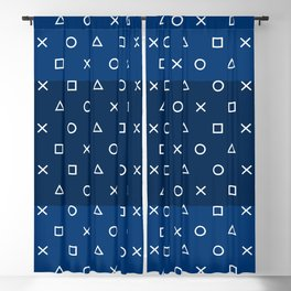 Gamepad Symbols Pattern - Navy Blue Blackout Curtain