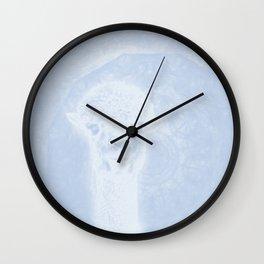 Ghostly alpaca and mandala in serenity blue Wall Clock