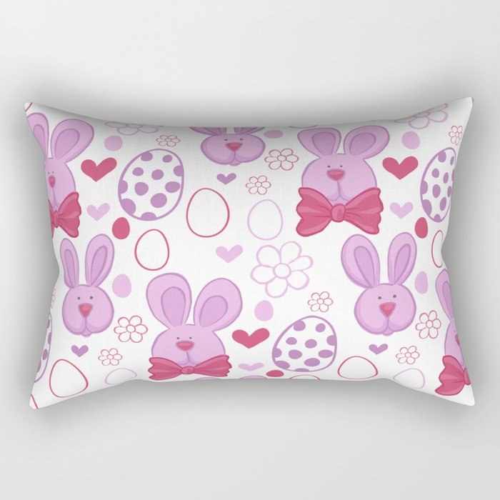 Cute easter pattern with eggs and bunnies Rectangular Pillow
