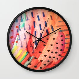 Fun Lovin - a bright watercolor piece Wall Clock
