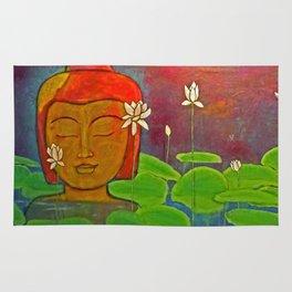 Buddha Lake with Lotus Flowers Rug