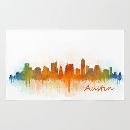 Austin Texas, City Skyline, watercolor  Cityscape Hq v3 Rug