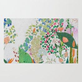 Painterly Floral Jungle on Pink and White Rug