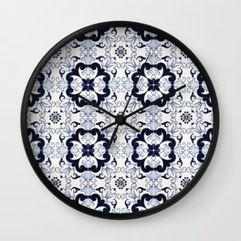 Portuguese Tiles Azulejos Blue and White Pattern Wall Clock