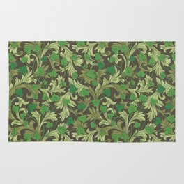 Green ivy with ornament on dark brown background Rug