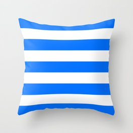 Brandeis blue - solid color - white stripes pattern Throw Pillow