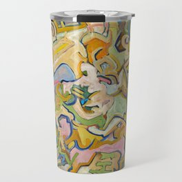 Abstract Maze of Green and Gold Travel Mug