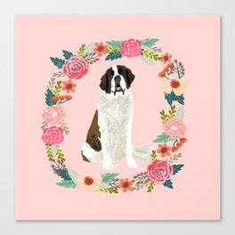saint bernard floral wreath dog breed pet portrait pure breed dog lovers Canvas Print