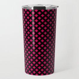 Small Hot Neon Pink Crosses on Black Travel Mug