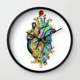 Flowers colorful heart watercolor Wall Clock