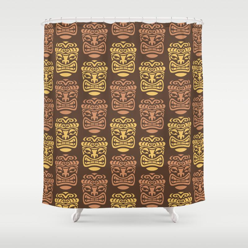 Tiki Pattern Brown Yellow Shower Curtain by Tonymagner CTN9056556