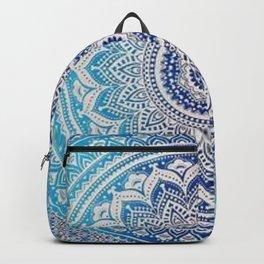 Teal And Aqua Lace Mandala Backpack