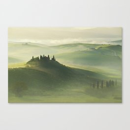 Foggy morning in Toscany Canvas Print
