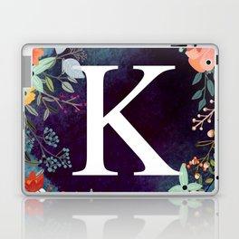 Personalized Monogram Initial Letter K Floral Wreath Artwork Laptop & iPad Skin