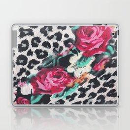 Vintage black white pink floral cheetah animal print Laptop & iPad Skin