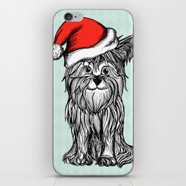 Christmas Dog In Santa Clause Hat iPhone Skin