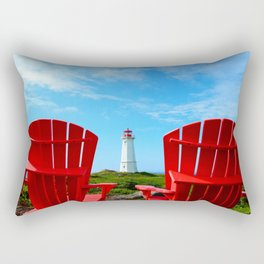 Lighthouse and chairs in Red White and Blue Rectangular Pillow