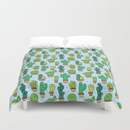 Cute Cactus Cacti Pattern Light Blue Background Duvet Cover