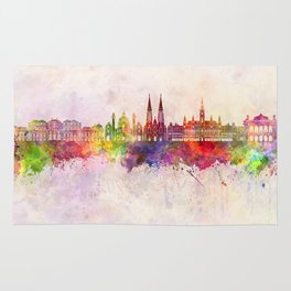 Vienna V2 skyline in watercolor background Rug