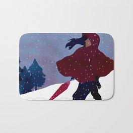walking on snow Bath Mat