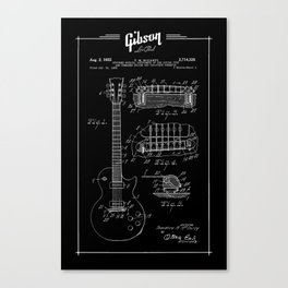 Gibson Les Paul Guitar Patent Drawing 1955 - Blueprint - Music Canvas Print