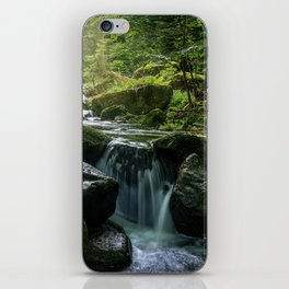 Flowing Creek, Green Mossy Rocks, Forest Nature Photography iPhone Skin