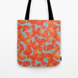 Tumbling Ginkgo Red Tote Bag