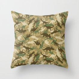 Camouflage Dinosaur Print Olive Green Khaki Tan Throw Pillow