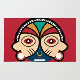 Round Tribal Mask Rug